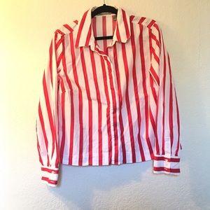 Liz Claiborne striped button down blouse retro